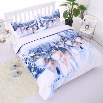 Lifelike Snow Wolf Digital Printing 5-Piece Comforter Sets