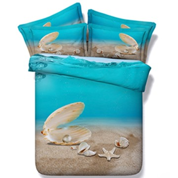 3D Shell and Starfish Printed 5-Piece Comforter Sets