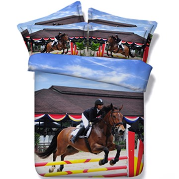 Cool Horse Riding Print 5-Piece Comforter Sets