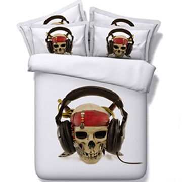Unique Skull with Headset Print 5-Piece Comforter Sets
