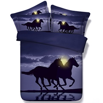 Two Running Horses 3D Printed 5-Piece Comforter Sets