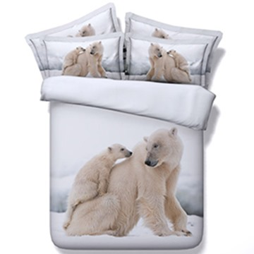 Likable Polar Bear Print 5-Piece Comforter Sets