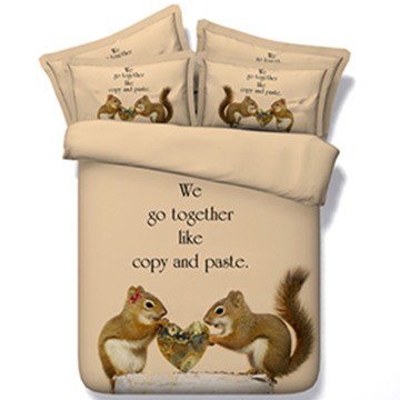 Cute Squirrel Lovers Print 5-Piece Comforter Sets