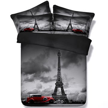 Fancy Eiffel Tower and Vintage Car Print 5-Piece Comforter Sets
