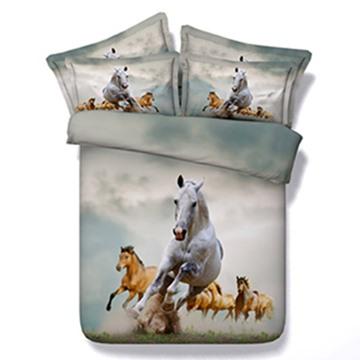 Vivid 3D Running Horse Print 5-Piece Comforter Sets