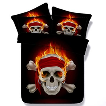 Amazing 3D Fire Skull Print 5-Piece Comforter Sets