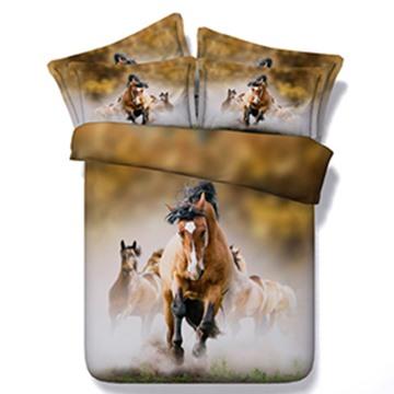 3D Running Horses Digital Printing 5-Piece Comforter Sets