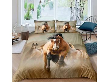 3D Running Horses Digital Printing 5-Piece Comforter Set / Bedding Set