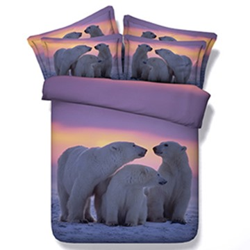 The Polar Bear Family Print 5-Piece Comforter Sets