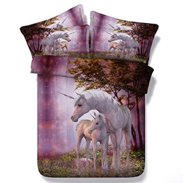 3D Pink Unicorn Print Bedding Set 5-Piece Comforter Set Polyester