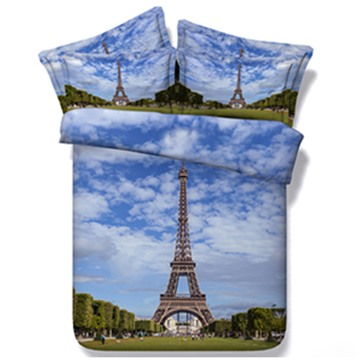 Famous Eiffel Tower Print 5-Piece Comforter Sets