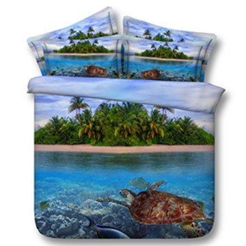 3D Turtle and Isle Printed 5-Piece Comforter Sets