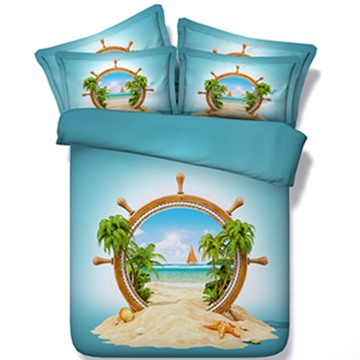 Special Design Beach Scenery Print 5-Piece Comforter Sets