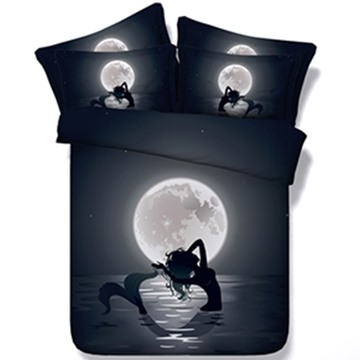 Beautiful Mermaid in the Moonlight Print 5-Piece Comforter Sets