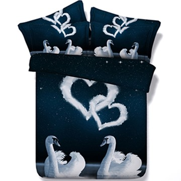 White Swans Couple and Heart Shape Print 5-Piece Comforter Sets