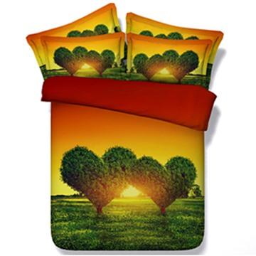 Fancy Green Heart Shape Tree Print 5-Piece Comforter Sets