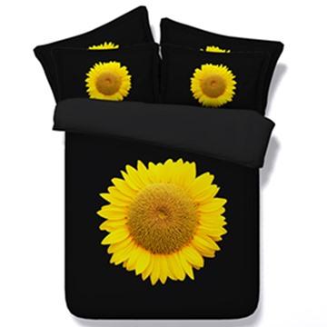 Pretty Yellow Sunflower Print 5-Piece Comforter Sets