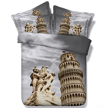 The Leaning Tower of Pisa Print 5-Piece Comforter Sets