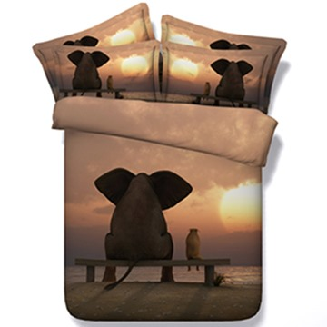 3D Lifelike Elephant Sunset Print 5-Piece Comforter Sets