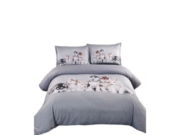 Likable Husky Puppies Print 5-Piece Comforter Sets