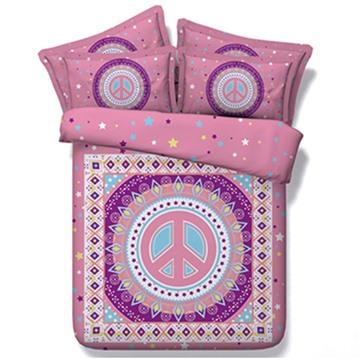 Vintage Style Digital Printing Pink 5-Piece Comforter Sets
