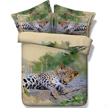 Vigorous 3D Leopard Print 5-Piece Comforter Sets