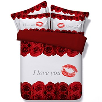Hot Lips and Red Roses Print 5-Piece Comforter Sets