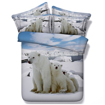 Pretty Lovely Polar Bears Print 5-Piece Comforter Sets