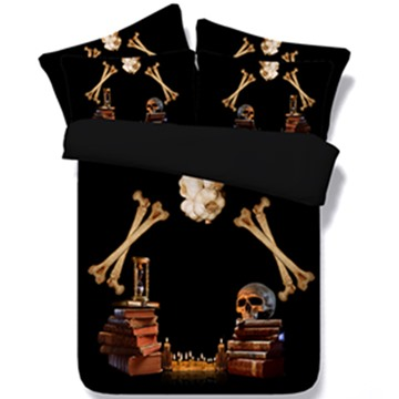 Unique Skull and Candles Print 5-Piece Comforter Sets