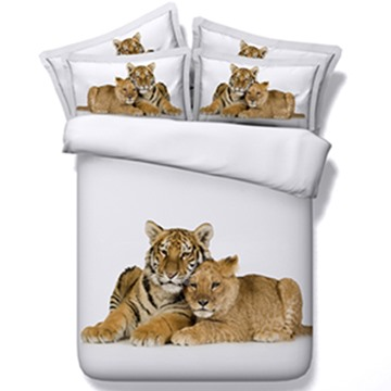 Vivid Snuggling Leopard and Tiger Print 5-Piece Comforter Sets