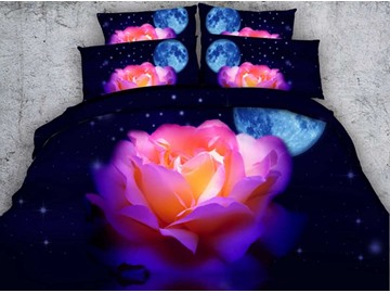 3D Blooming Pink Rose and Moon Printed 5-Piece Comforter Set / Bedding Set