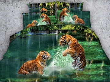 3D Two Tigers Playing in Water Printed 5-Piece Comforter Sets