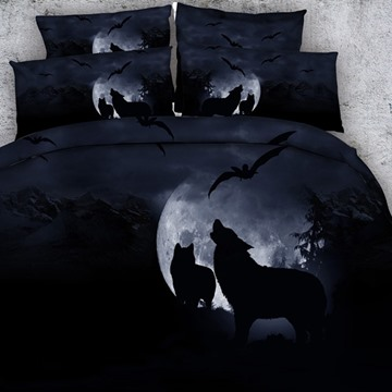 Wolf Howling At The Moon 3D Printed 5-Piece Comforter Sets