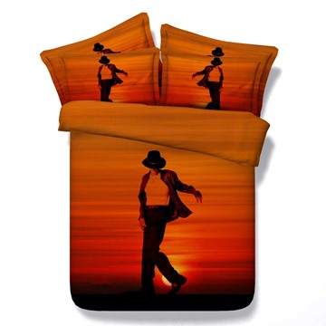 Silhouette of a Young Man Dancer Print 5-Piece Comforter Sets