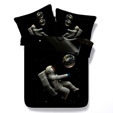 Super Cool Astronaut Print Black 5-Piece Comforter Sets