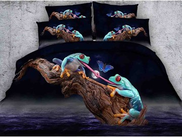 Impressive 3D Frogs and Butterfly Print 5-Piece Comforter Sets