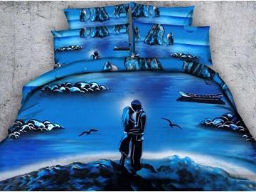 Stunning 3D Sweet Lovers Print Blue 5-Piece Comforter Sets
