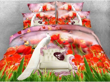 Stunning White Peacock and Tulip Print 5-Piece Comforter Sets