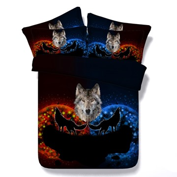 3D Wolf Howling Printed 5-Piece Comforter Sets