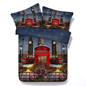 Red Telephone Booth 3D Printed 5-Piece Comforter Sets