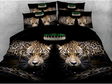 3D Realistic Leopard Digital Printing 5-Piece Tencel Comforter Sets
