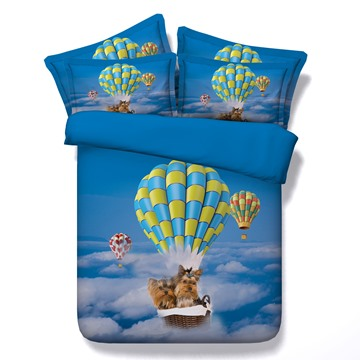 3D Yorkshire Terrier Flying in Sky with Hot Air Balloon Printed 5-Piece Comforter Sets