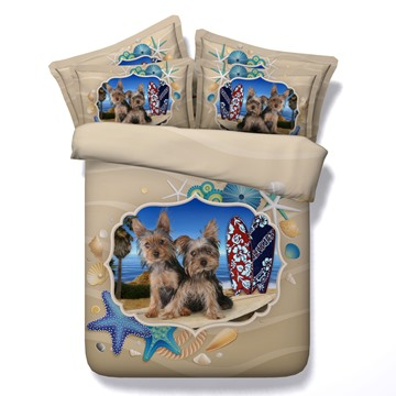 3D Yorkshire Terrier and Beachscape Printed 5-Piece Comforter Sets