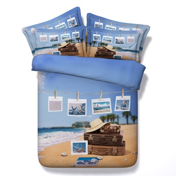 3D Suitcases and Photos of Beachscape Printed 5-Piece Comforter Sets