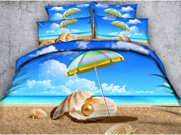 3D Rainbow Colored Umbrella and Shells Printed Cotton 5-Piece Comforter Sets