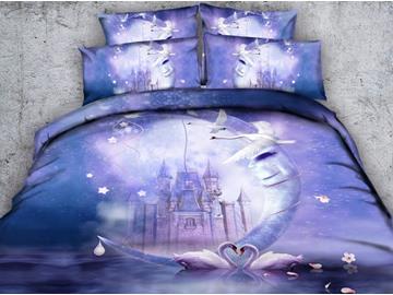 3D White Swans and Castle Printed Cotton 5-Piece Purple Comforter Sets