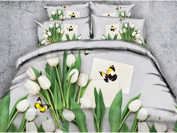 3D White Tulips and Butterfly Printed Cotton 5-Piece Comforter Sets