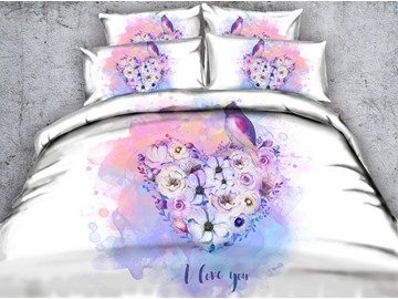 3D Heart-shaped Flowers and Bird Printed Cotton 5-Piece White Comforter Sets