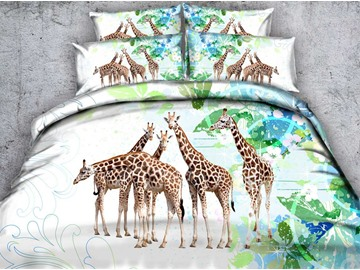 3D Giraffe and Green Leaves Printed Cotton 5-Piece Comforter Sets