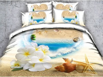 3D Starfish and White Flowers Printed Cotton 5-Piece Comforter Sets